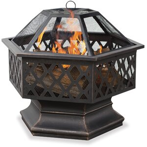 Bronze Outdoor Wood Burning Fire Pit with Lattice
