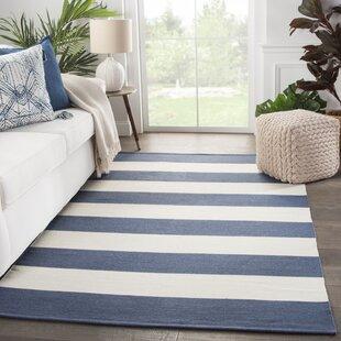 Mcfarland Stripes Handwoven Flatweave Dark Blue/Ivory Indoor/Outdoor Area Rug