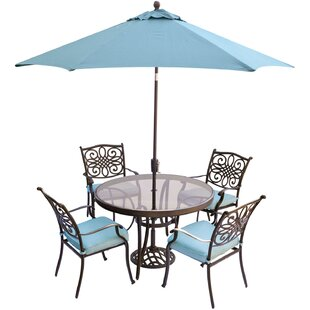 Three Posts Lauritsen 5 Piece Aluminum Dining Set with Cushions