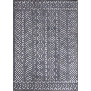 Savings Ena Diamond and Square Handmade Gray/White Area Rug By Union Rustic