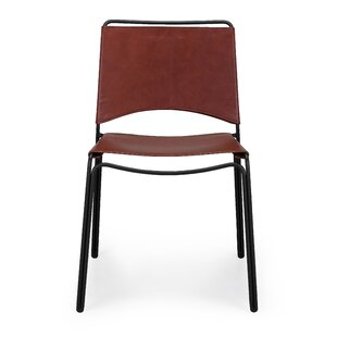 Loon Peak Whitchurch Genuine Leather Upholstered Dining Chair