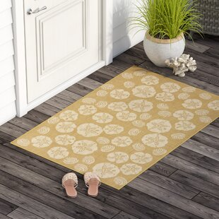 Clatterbuck Shell Toss Almond/Camel Indoor/Outdoor Area Rug