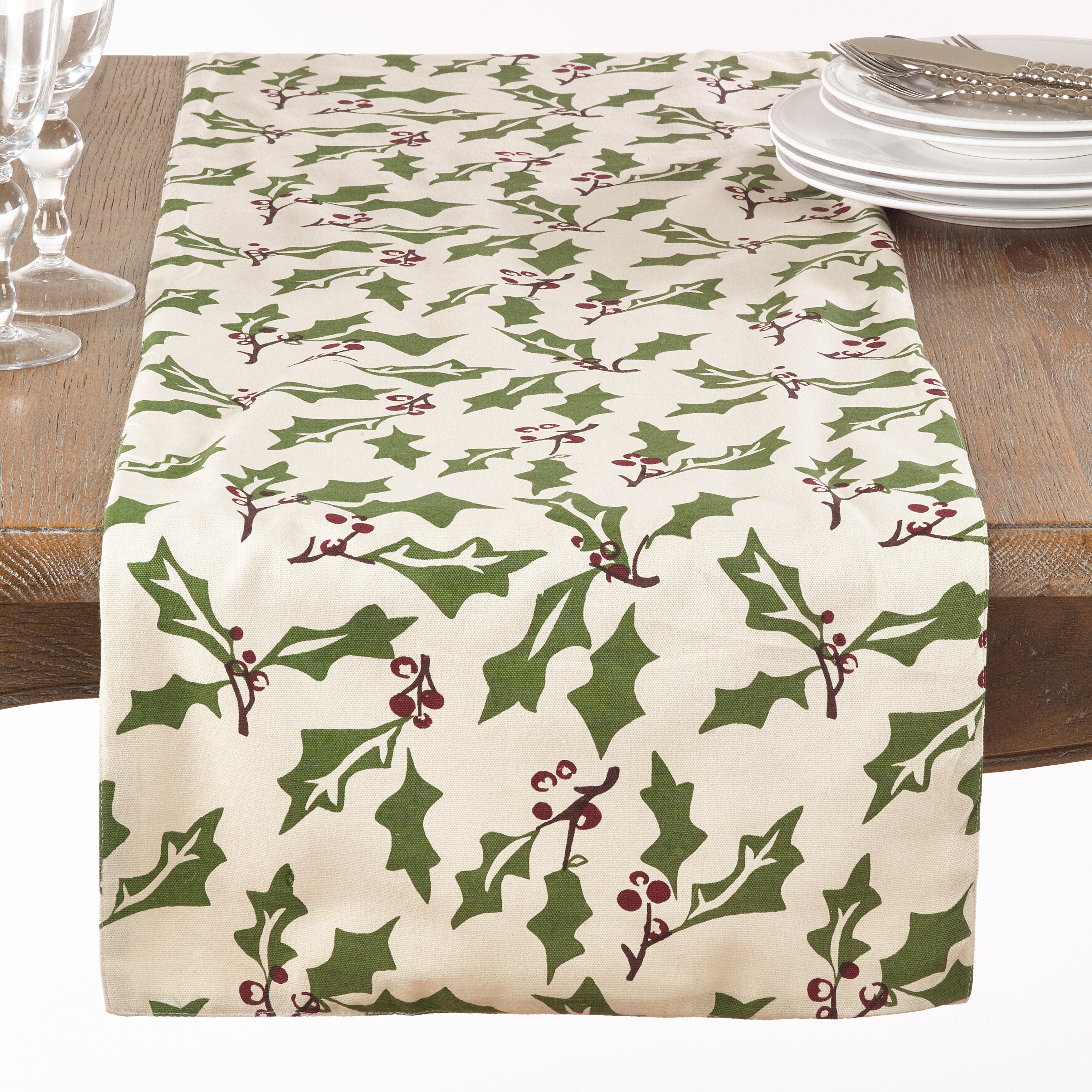 The Holiday Aisle Driggers Holly Berry Christmas Table Runner Wayfair