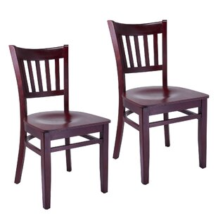 Jimenez Slatback Solid Wood Dining Chair (Set of 2) Charlton Home