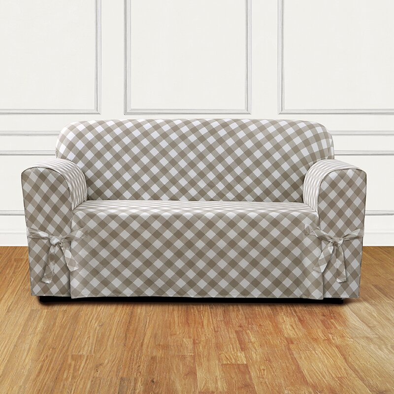 Sure Fit Buffalo Check Box Cushion Loveseat Slipcover