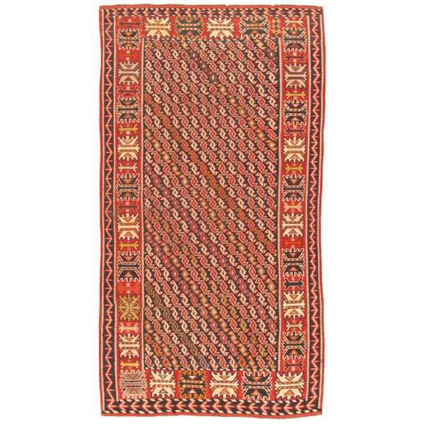Pasargad One Of A Kind Kilim Hand Knotted Navy Rust 6 5 X 11 6 Wool Area Rug Perigold