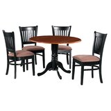 Ansonia 5 Piece Drop Leaf Solid Wood Dining Set by August Grove®