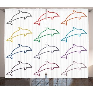 Marine Ocean Dolphin Decor Nautical Room Darkening Rod Pocket Curtain Panels (Set of 2) by East Urban Home
