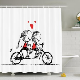 Love Couple Cycling Together Shower Curtain Set
