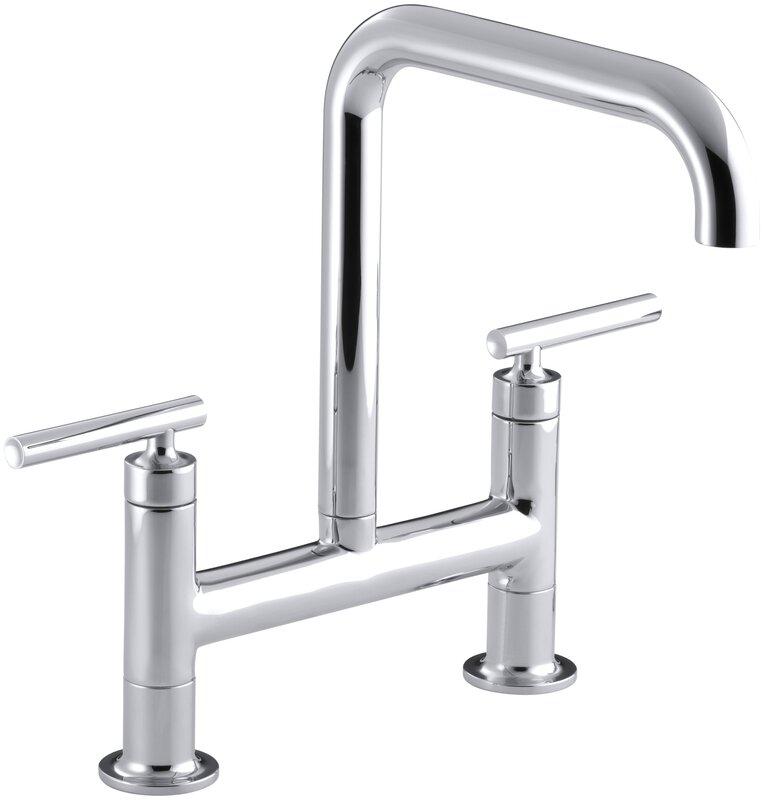 kohler purist two-hole deck-mount bridge kitchen sink faucet