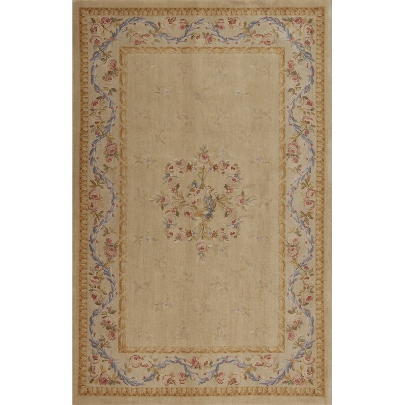 Samad Rugs One Of A Kind Savonnerie Oriental Hand Knotted 6 X 9 Wool Gold Beige Area Rug Perigold