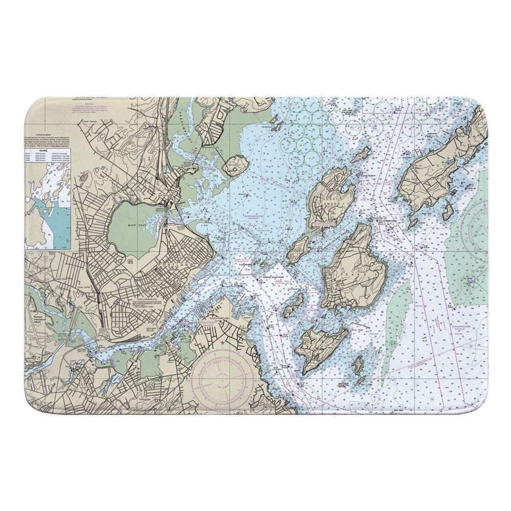 185205a8 Holeman Portland, ME Nautical Chart Memory Foam Bath Rug