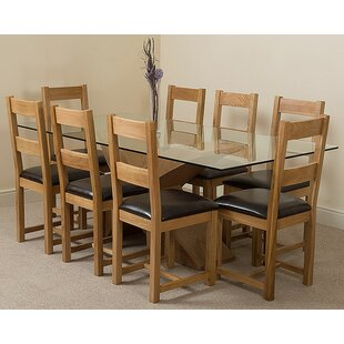 Ediz   Oak Glass Dining Set With 8 Chairs By Ebern Designs