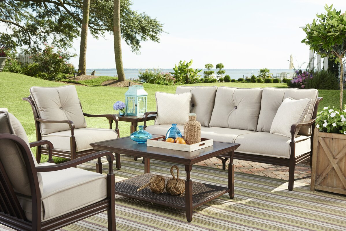 Marvelous River House Deep Sunbrella Seating Group With Cushions