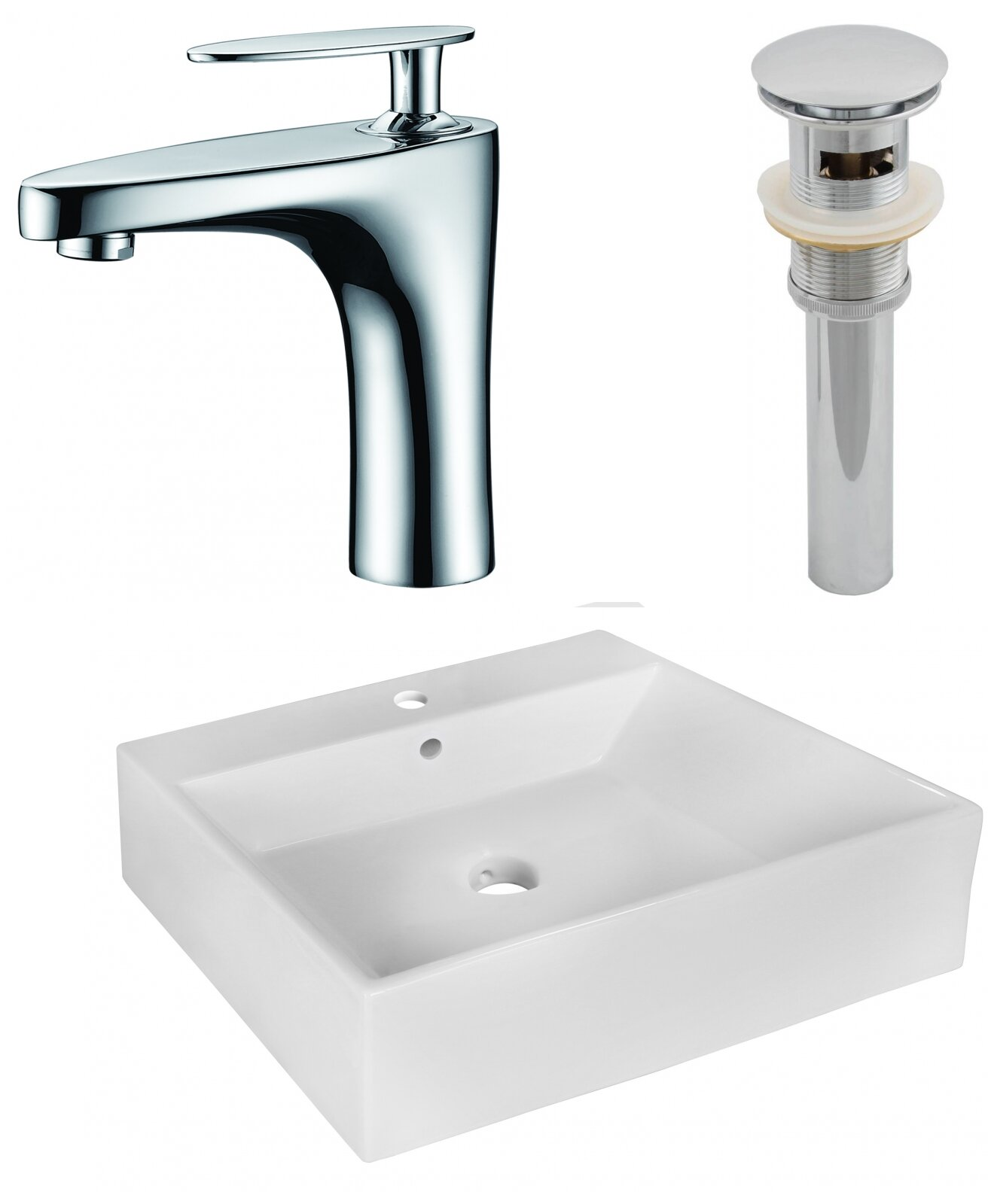 Avanities Ceramic Rectangular Vessel Bathroom Sink With Faucet And Overflow Wayfair