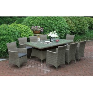 9 Piece Dining Set with Cushions