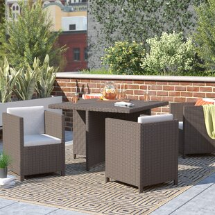 Bashir Outdoor Wicker Dining Set with Cushions by Willa Arlo Interiors