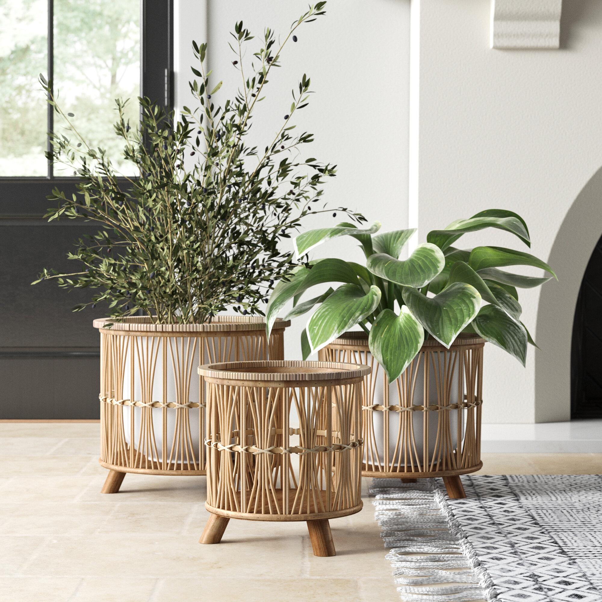 Woven Footed 3 Piece Bamboo Basket Set Reviews Joss Main