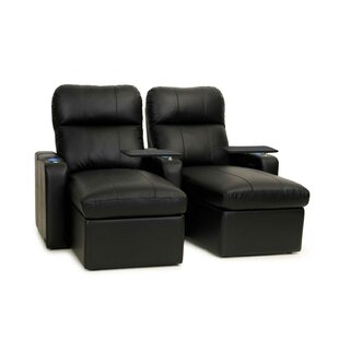 Red Barrel Studio Power Recline Leather Home Theater Loveseat (Row of 2) (Set of 2)