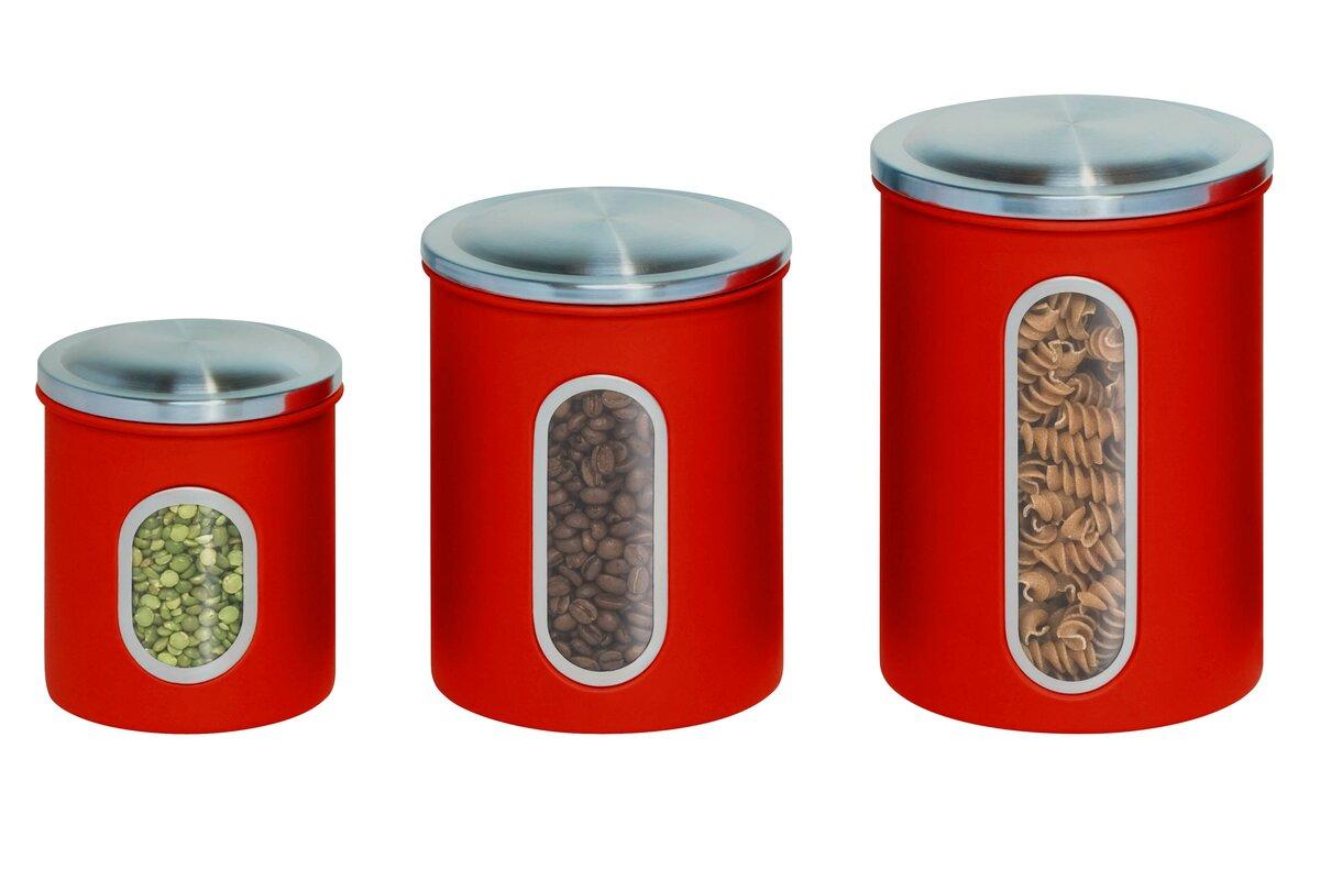 honey can do 3 piece kitchen canister set u0026 reviews wayfair