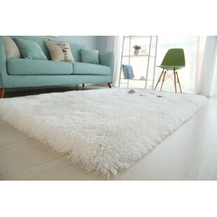Affordable Wilhelmina Soft Shaggy Hand-Tufted White Area Rug By Ebern Designs