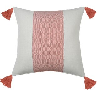 Herringbone Stripe 100% Cotton Throw Pillow