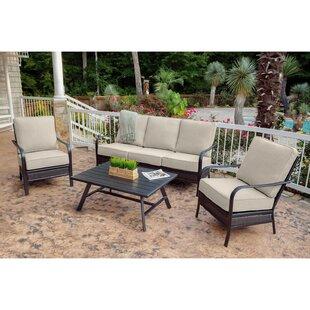 Gaydos 4 Piece Rattan Sofa Seating Group with Sunbrella Cushions