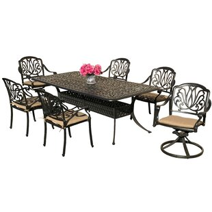 Nina 7 Piece Sunbrella Dining Set with Sunbrella Cushions by Fleur De Lis Living