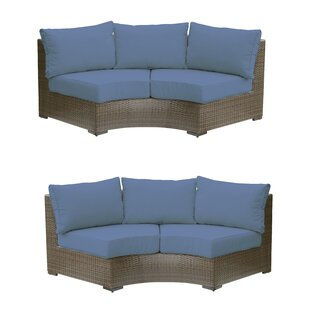 Stephanie Curved Wicker Sofa (Set of 2)