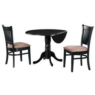 Sickles 3 Piece Drop Leaf Solid Wood Dining Set in Cherry/Black/Dark Brown by August Grove