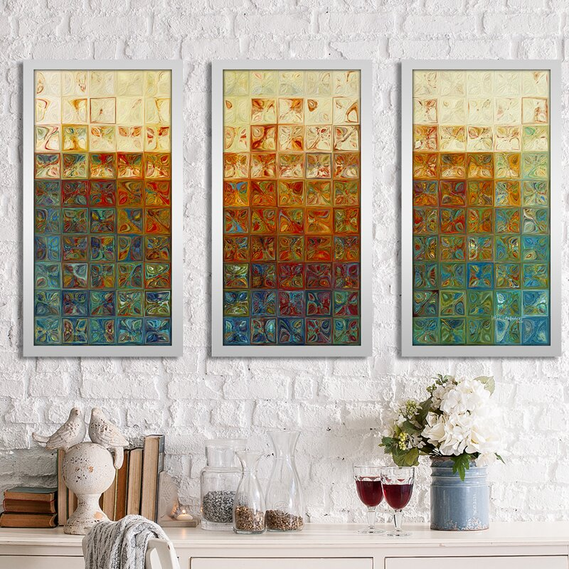 Pictureperfectinternational Tile Art 2 2015 Max By Mark Lawrence 3 Piece Framed Graphic Art Set Wayfair
