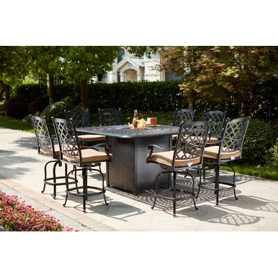 Canora Grey Millwood 9 Piece Bar Height Dining Set with Firepit