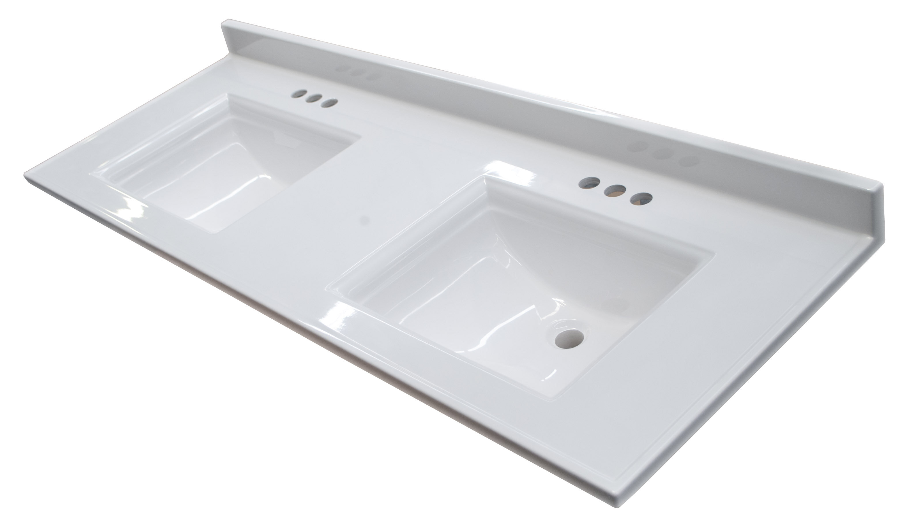 Image of: Design House Camilla 61 In Cultured Marble Vanity Top In Solid White With Double Basin Wayfair