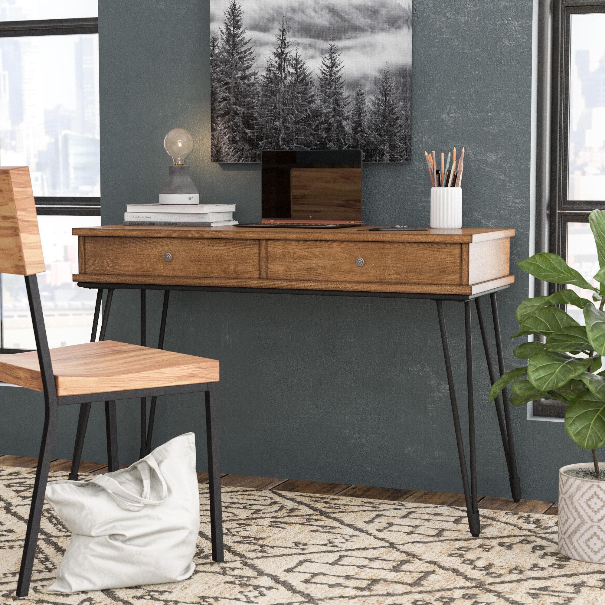 Williston forge nikolai metal and distressed wood writing desk reviews wayfair
