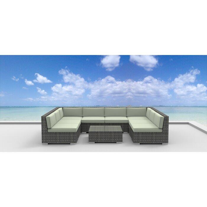Urban Furnishings Tahiti 9 Piece Sectional Set With Cushions