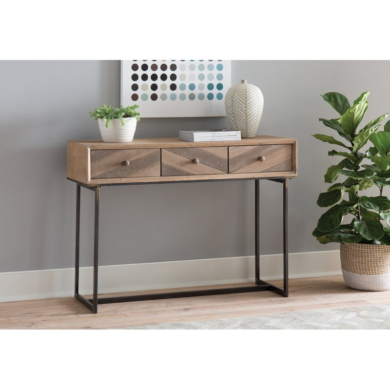 Cole Grey Wood And Metal Console Table Reviews Wayfair