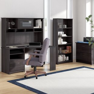 Red Barrel Studio Hillsdale Corner Desk with Hutch Lateral File and 5 Shelf Bookcase