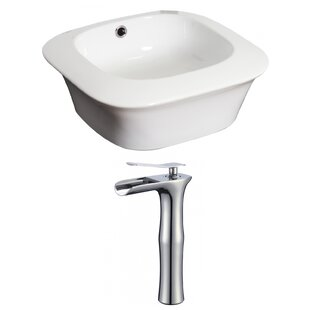Royal Purple Bath Kitchen Ceramic Square Vessel Bathroom Sink with Faucet and Overflow