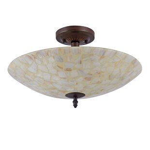 Henning Mosaic 2-Light Semi Flush Mount by Highland Dunes