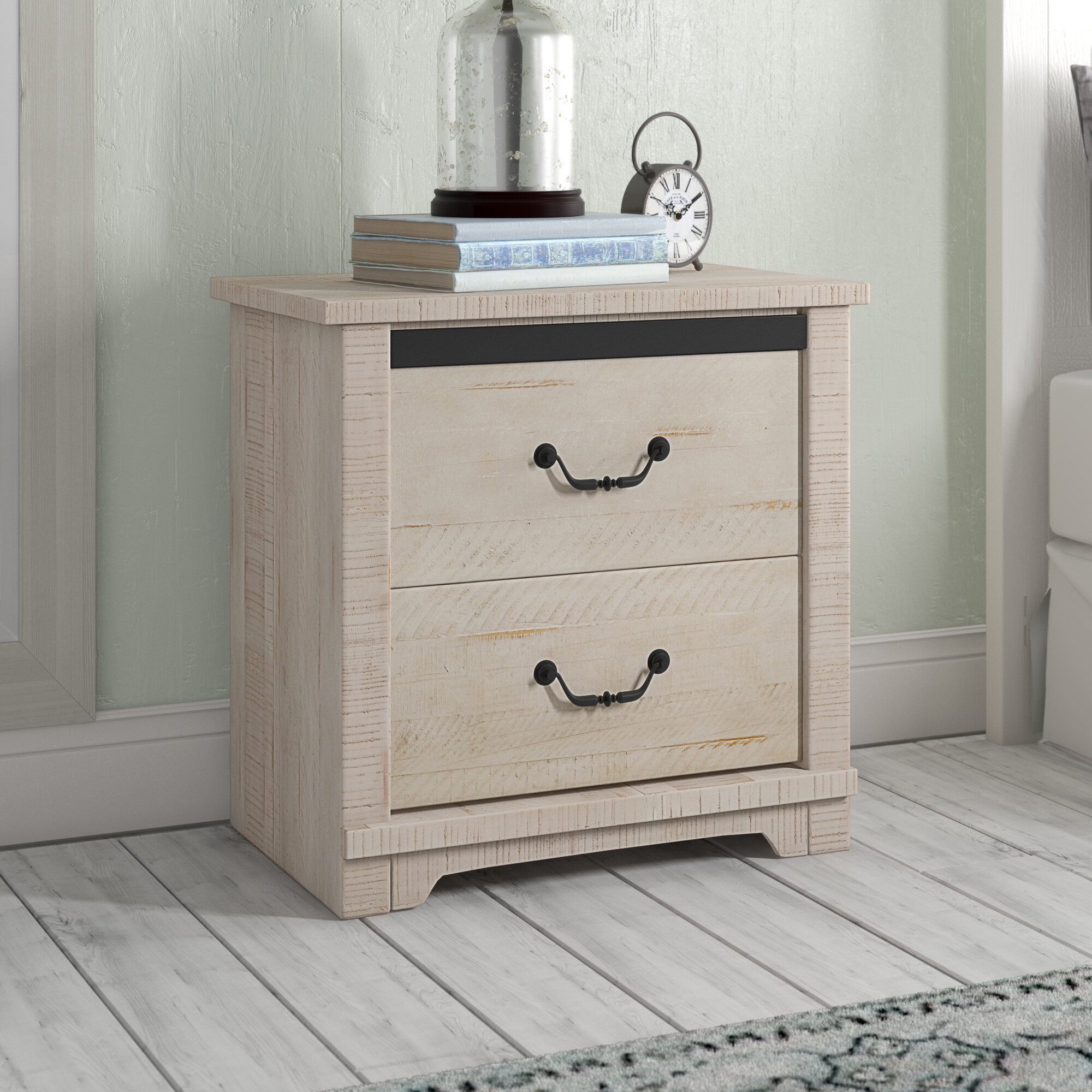 Three Posts Solihull Farmhouse 2 Drawer Nightstand Reviews