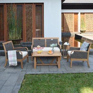 Mansfield 4 Piece Teak Sofa Seating Group with Cushions by Bayou Breeze