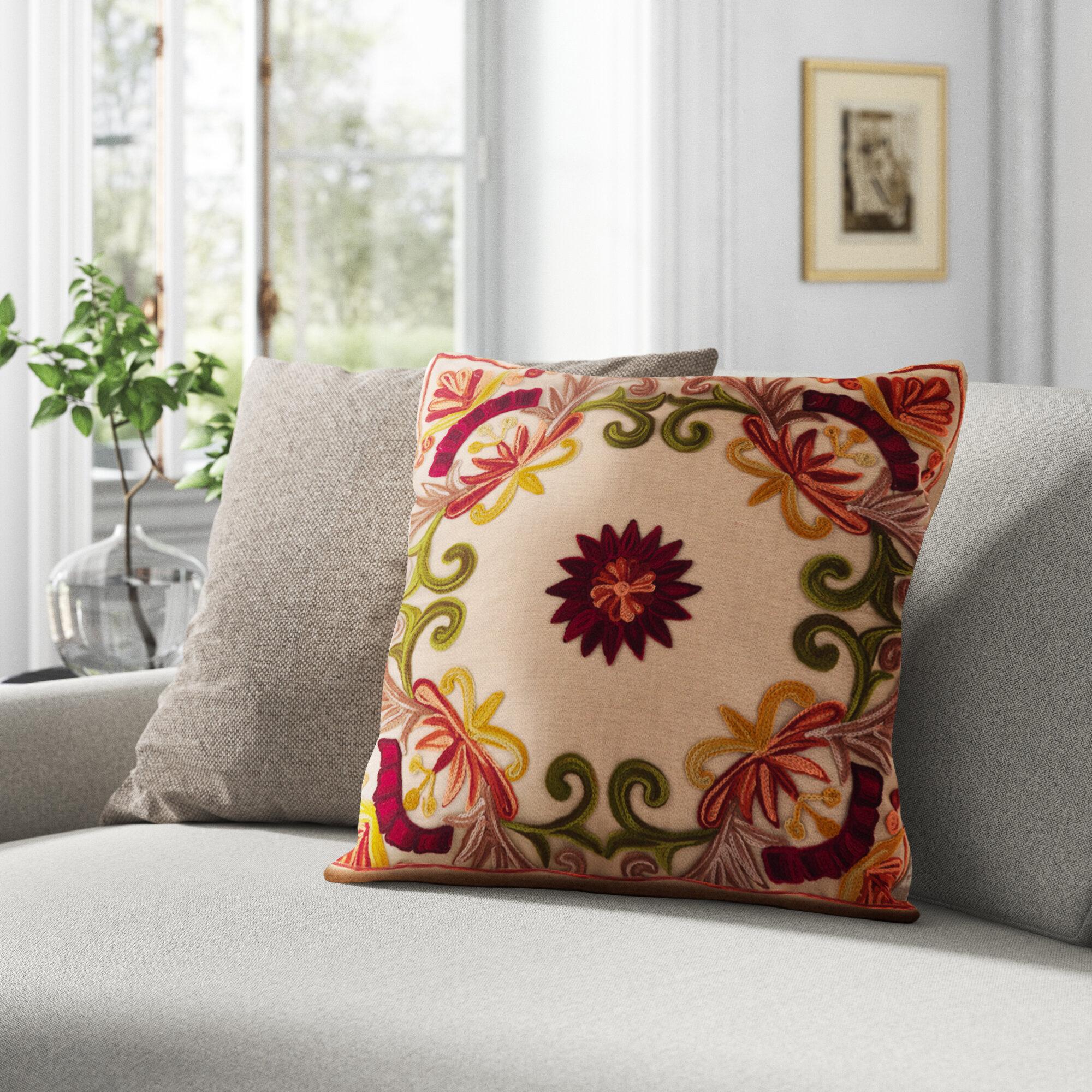 Kelly Clarkson Home Wells Cotton Floral Throw Pillow Reviews Wayfair
