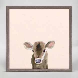 Baby Brown Cow by Cathy Walters Mini Canvas Framed Art