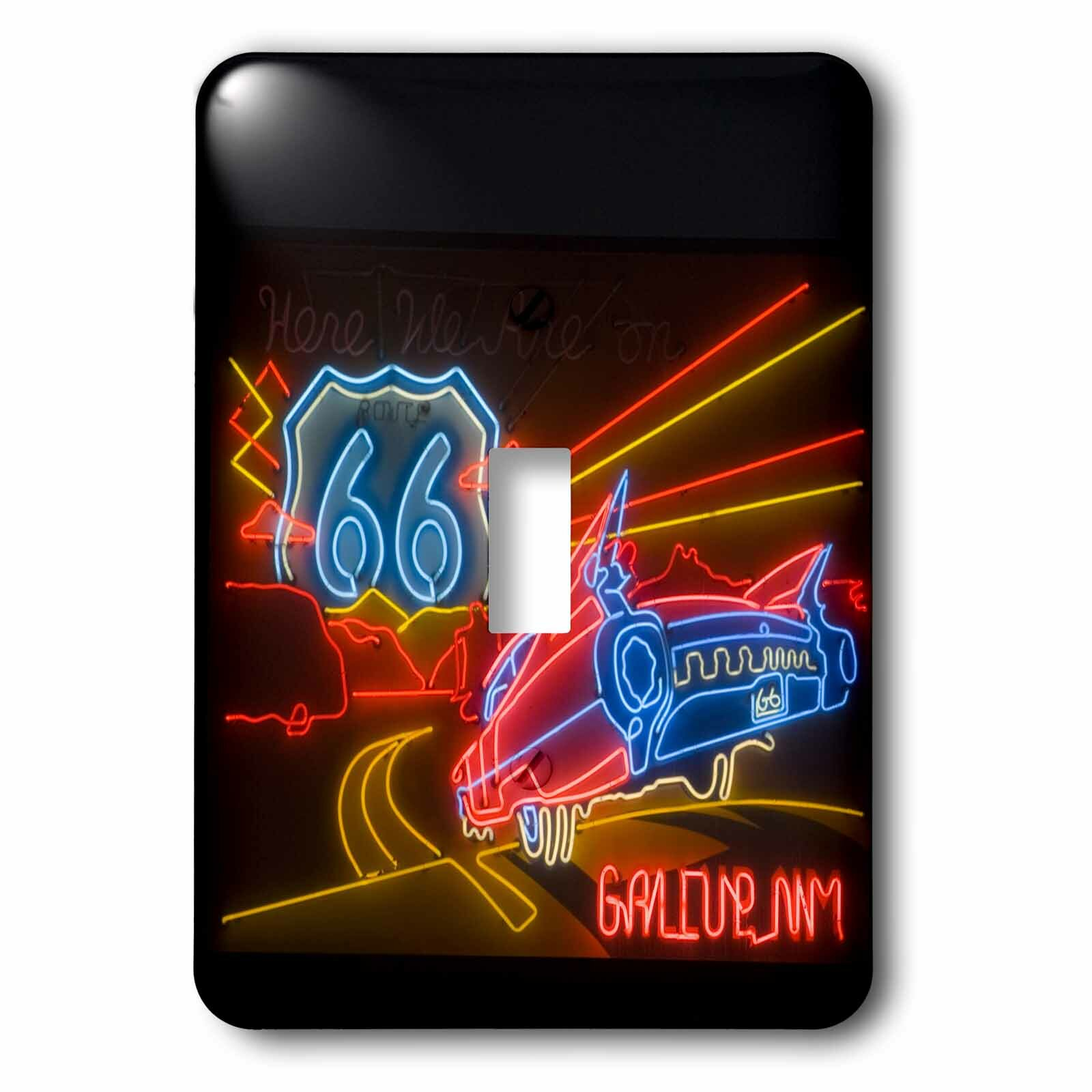 3drose Route 66 Neon Sign Gallup Chamber Of Commerce 1 Gang Toggle Light Switch Wall Plate Wayfair