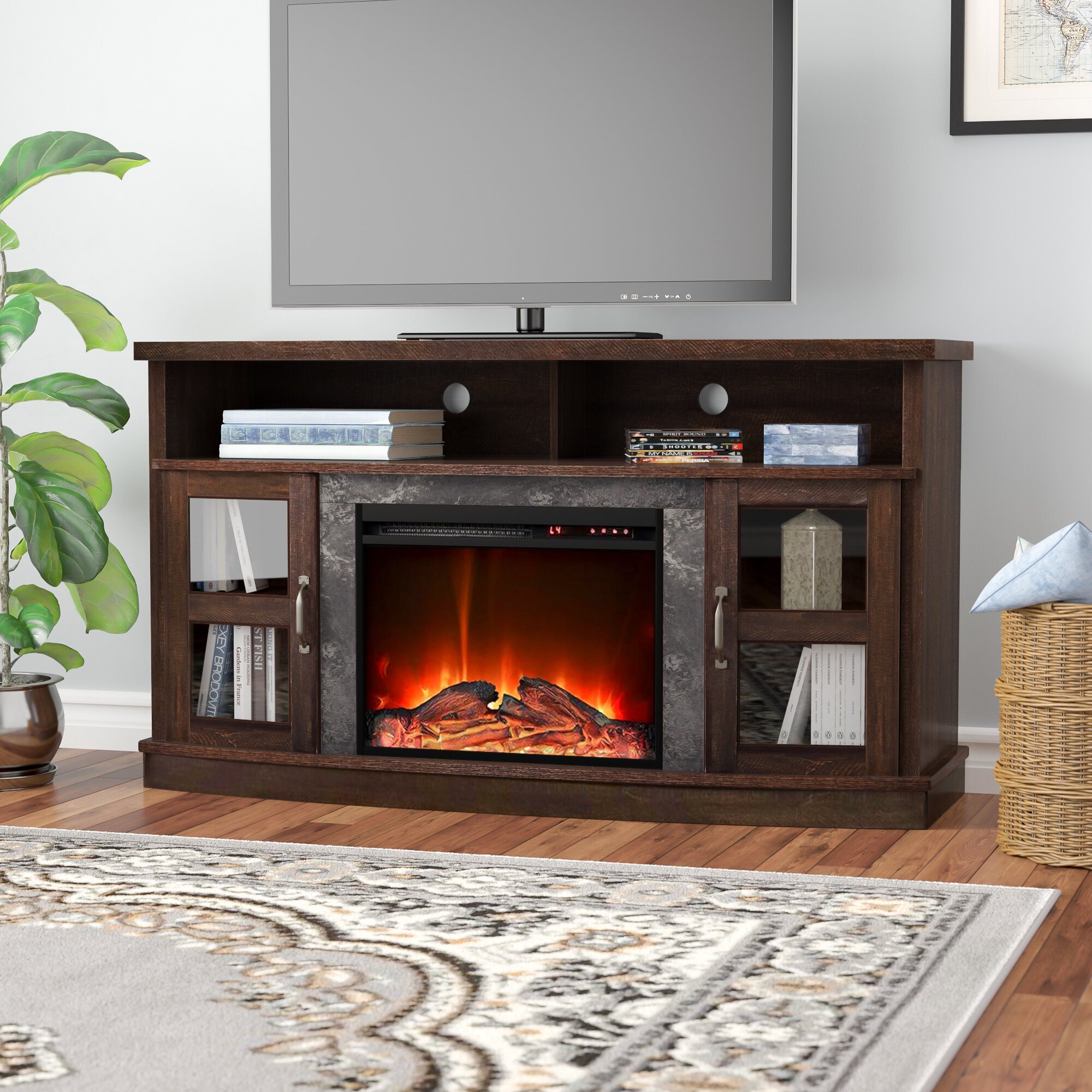 Darby Home Co Schuyler Tv Stand For Tvs Up To 60 With Electric Fireplace Included Reviews