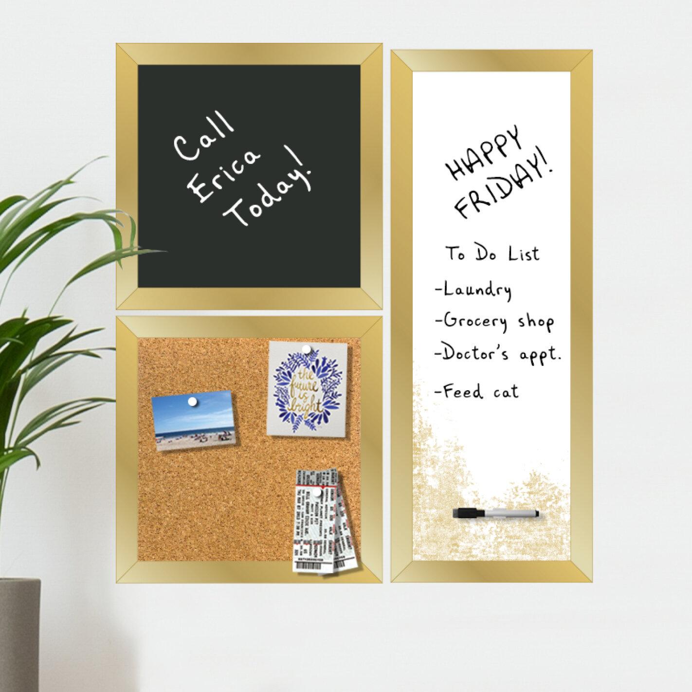 Ebern Designs 3 Piece Gallery Organizer Organization Magnetic Wall Mounted Combo Board Set Reviews Wayfair