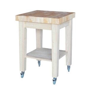 Cuthbert Kitchen Cart with Butcher Block with Storage Rosecliff Heights