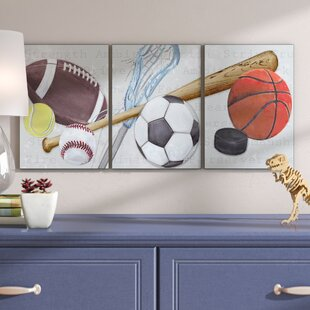 Stella Sports Balls Triptych Wall Plaque (Set Of 3)