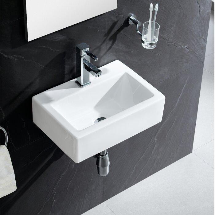 Vitreous China Rectangular Wall Mount Bathroom Sink