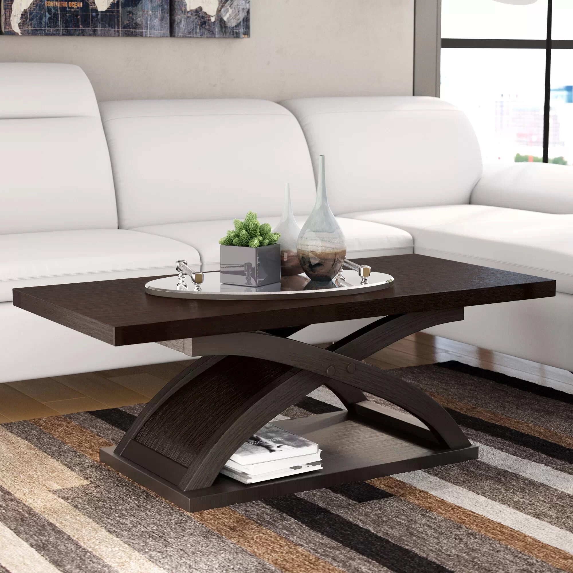 Wade Logan Annica Cross Legs Coffee Table With Storage Reviews Wayfair